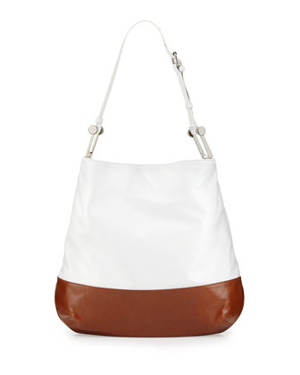 Nadia Colorblock Leather Hobo Bag, White/Cognac
