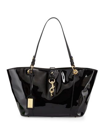 Juliette Patent East-West Tote Bag, Black