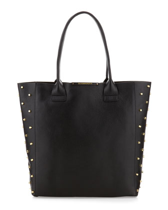 Raina Studded Side Leather Tote Bag, Black