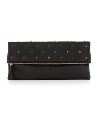 Raina Studded Fold-Over Clutch Bag, Black