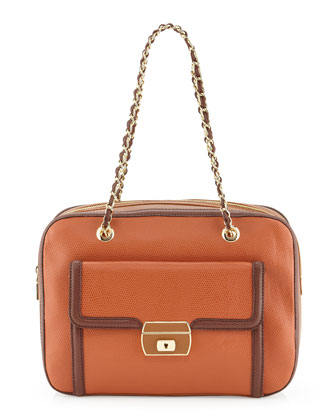 Medium Colorblock Lizard-Print Satchel, Ruggin/Marron/Cuoio