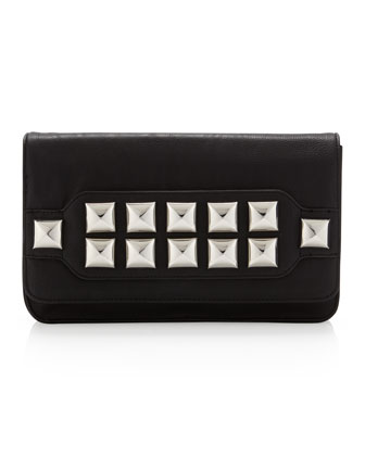 Stud Muffin Clutch Bag, Black