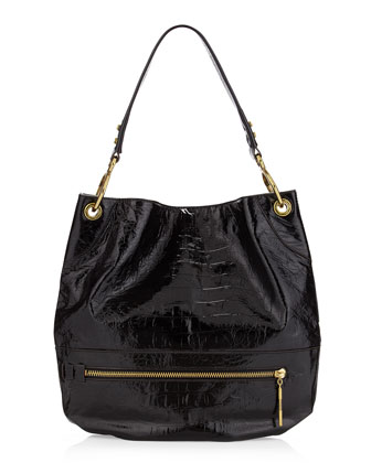 Lucy Crocodile-Embossed Patent Bag, Black