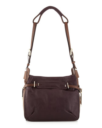 Flynn Two-Tone Shoulder Bag, Plum