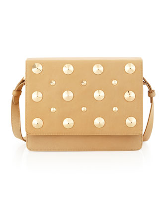 Louise Stud-Flap Shoulder Bag, Nude