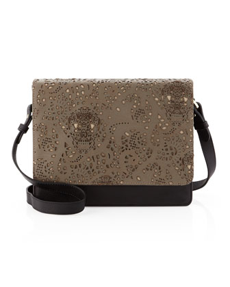 Louise Lace-Flap Shoulder Bag, Black Combo