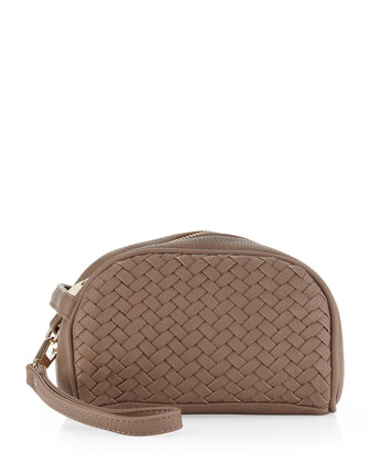 Gramercy Woven/Pebbled Cosmetic Case, Taupe