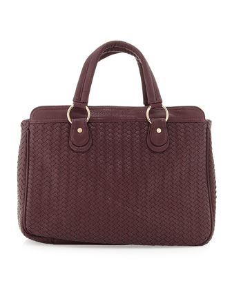 Gramercy Woven/Pebbled Tote Bag, Grape
