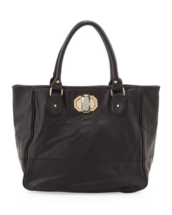 Rumi Faux-Leather Tote, Black