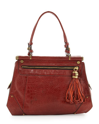 Zoe Crocodile Embossed Zip Tote, Mahogany