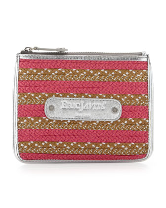 EJ Striped Zip Coin Purse, Fuchsia