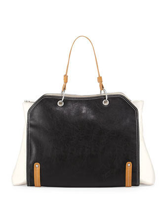 Jillian Tonal Faux-Leather Tote Bag, Black/White