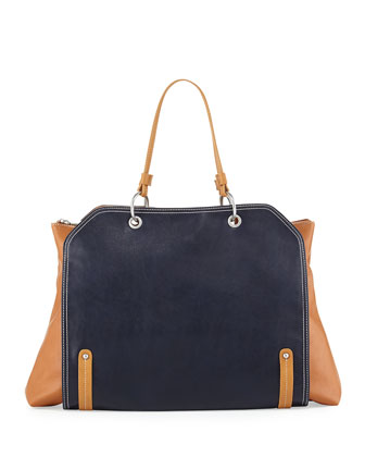 Jillian Tonal Faux-Leather Tote Bag, Navy/Camel