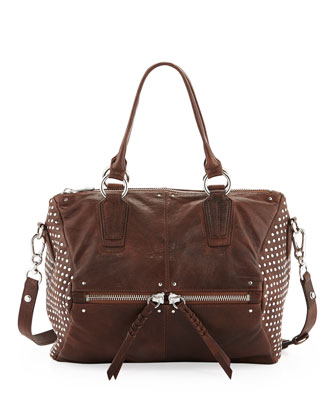 Dora Circle Studded Leather Satchel/Shoulder Bag, Cognac