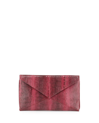 Envelope Snakeskin Clutch, Crimson