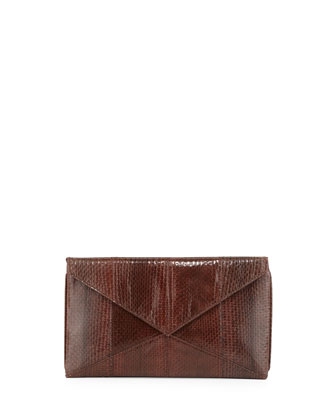 Envelope Snakeskin Clutch, Brown