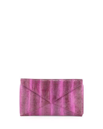 Envelope Snakeskin Clutch, Purple