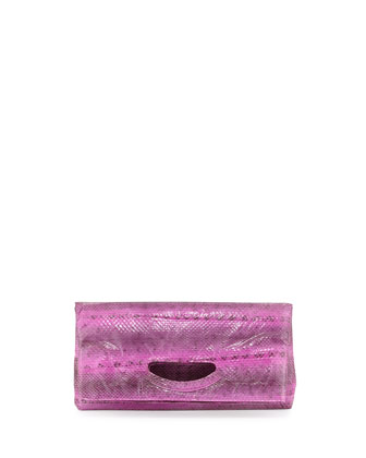 Julie Foldover Snakeskin Clutch, Purple