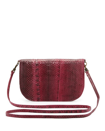 Alice Crossbody Snakeskin Clutch, Crimson