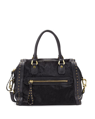 Brenda Studded Calf-Hair Duffle Bag, Black