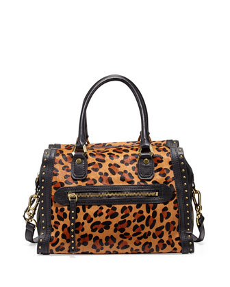 Brenda Studded Calf-Hair Duffle Bag, Leopard