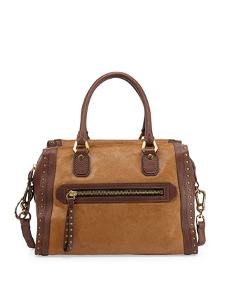 Brenda Studded Calf-Hair Duffle Bag, Natural