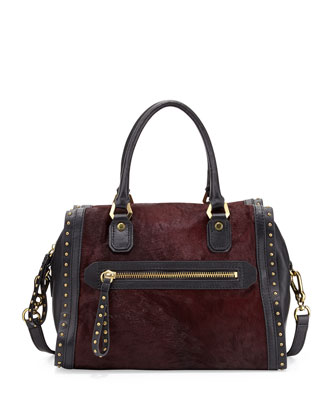 Brenda Studded Calf-Hair Duffle Bag, Cabernet