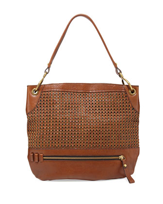 Faye Textured Chain Weave Hobo Bag, Cognac