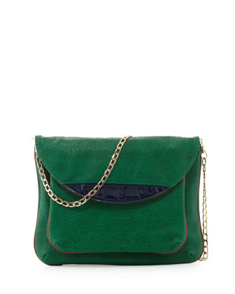 Tate Chain Faux-Leather Flap Clutch Bag, Emerald