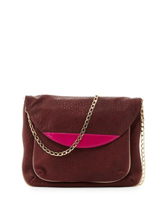 Tate Chain-Strap Clutch Bag, Merlot