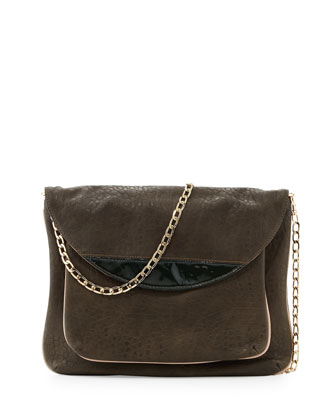 Tate Chain Faux-Leather Flap Clutch, Olive