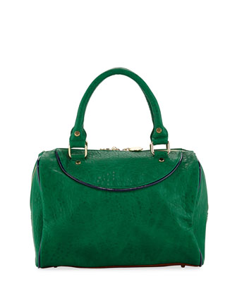 Tate Grainy Duffel Satchel Bag, Emerald