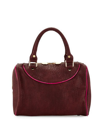 Tate Grainy Duffel Satchel Bag, Merlot
