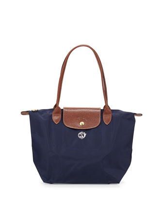 Le Pliage Monogrammed Small Shoulder Tote Bag, New Navy