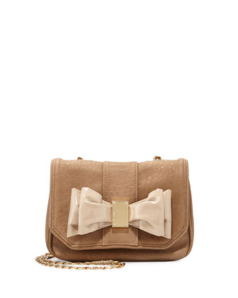 Joy Bow-Detail Faux-Leather Messenger, Camel