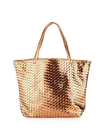 Sunset Metallic Woven Tote Bag, Rose Gold