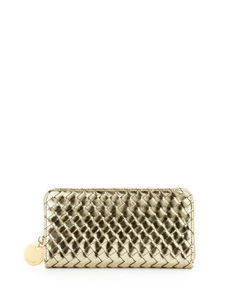 Sunset Mirrored Woven Zip Wallet, Gold