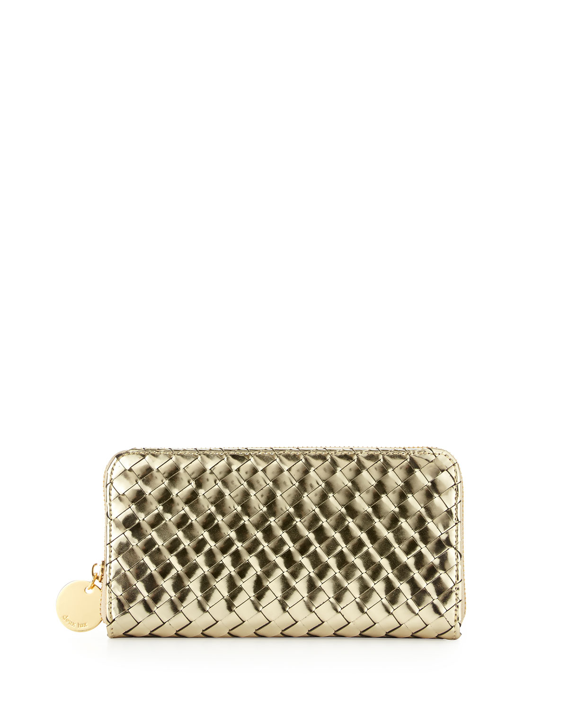 Sunset Mirrored Woven Zip Wallet, Gold   Deux Lux