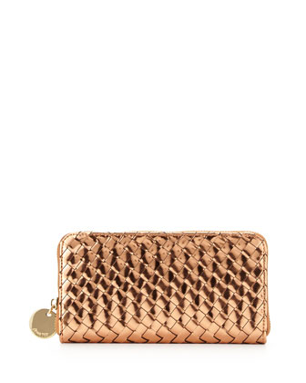 Sunset Mirrored Woven Zip Wallet, Rose Gold