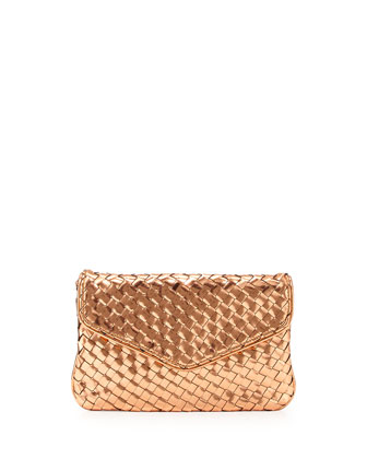 Sunset Woven Envelope Clutch Bag, Rose Gold
