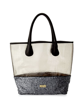 Witchcraft Clear Embossed Sequined Tote Bag, Gunmetal