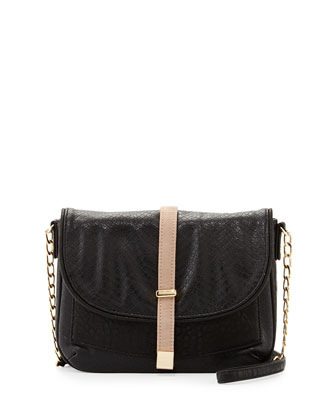 Alfie Snake-Print Messenger Bag, Black