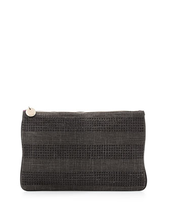 Coquette Crystal-Stripe Zip Pouch, Black