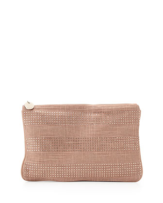Coquette Crystal-Stripe Zip Pouch, Blush