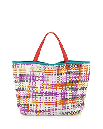 Callie Woven PVC Tote Bag, Cherry