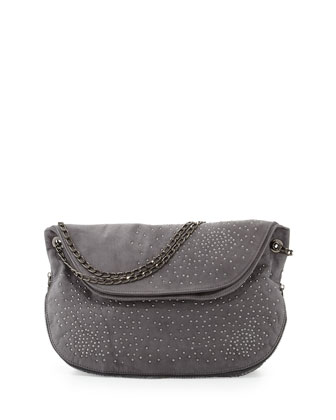 Atlantis Studded Shoulder Bag, Gray
