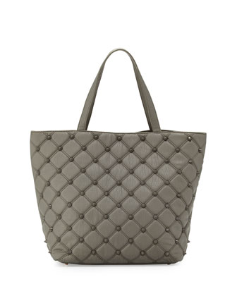 Empress Stud Quilted Faux-Leather Tote Bag, Dove