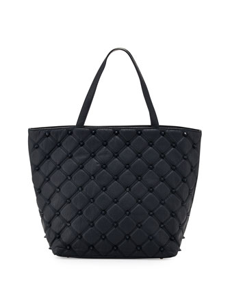 Empress Stud Quilted Faux-Leather Tote Bag, Marine