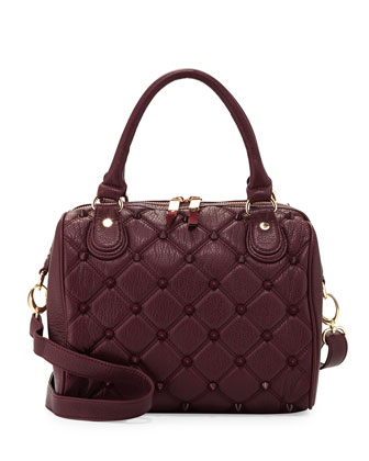 Empress Stud Quilted Faux-Leather Duffle Bag, Berry