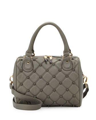 Empress Stud Quilted Faux-Leather Duffle Bag, Dove